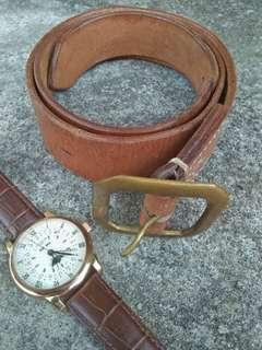 Leather goods supply brass buckle belts