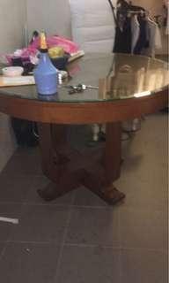 Art Deco u leg dining table restored track wood