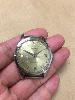 古董瑞士唱片紋錶面手上鏈手錶紅黑日曆