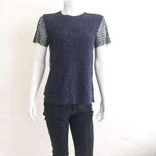 NWOT RAOUL Navy Blue Crochet Lace Semi Sheer Top Blouse FR 38 US 6