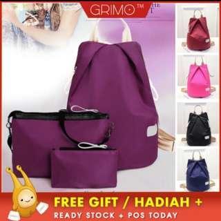 (READY STOCK) GRIMO 3 in 1 Backpack Travel Handbag /Sling Purse Wallet Bag