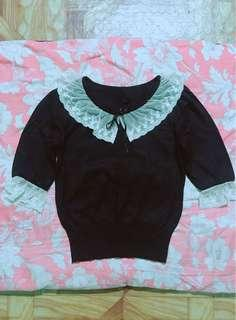 Black Knitted Top with Lace