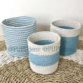 Keranjang mini tabung set 3 pcs baby blue