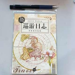 Vintage map sticker pad for planner journal
