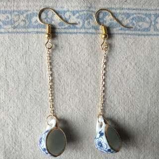 🚚 青花瓷 杯子耳環