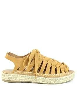 🚚 London rag 英國潮牌芥末黃編織交叉綁帶亞麻涼鞋
