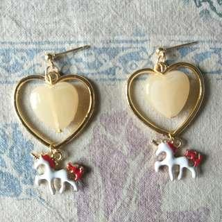 🚚 雙愛心獨角獸垂墜式耳環