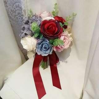 全新 灰 紅 粉紅 結婚 新娘 絲花花球 silk bonquet