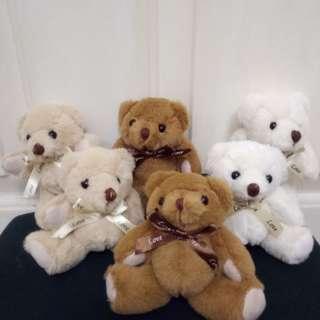 全新迷你得意小熊, 手腳可活動, 有白色,啡色, 淺啡色。 每隻55蚊