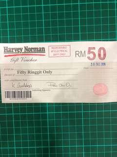Harvey Norman RM50 Gift Voucher (Electrical Department only)