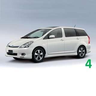 1 Week Contract Toyota Wish $420