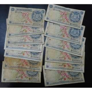 13 singapore $1 orchid goh keng swee signature all for $58
