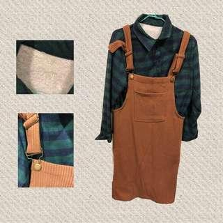 🚚 Nitt購入全新✨墨綠格子毛茸襯衫+卡其針織吊帶裙