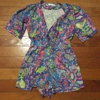 Rare London rainbow snake print romper
