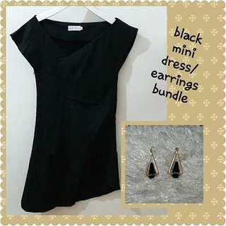 Black mini dress with free earrings