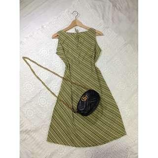 B8-V137: Olive green diagonal patterned dress