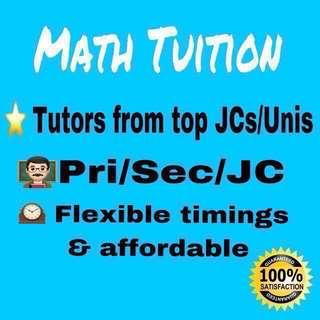 Primary/Secondary/JC Math Home Tuition