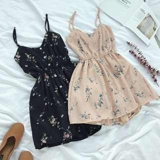 🚚 (4col) caitlyn floral chiffon spaghetti strap button down dress