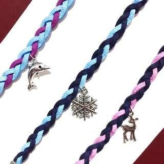 Braided Suede Bracelet - Dolphin, Snowflake, Deer