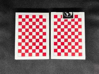 Red Checkerboard Playing Cards 啤牌 撲克牌