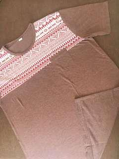 Kaos T-Shirt Tribal Brown