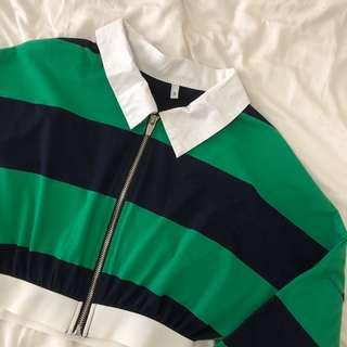 retro green blue stripe polo zip crop top