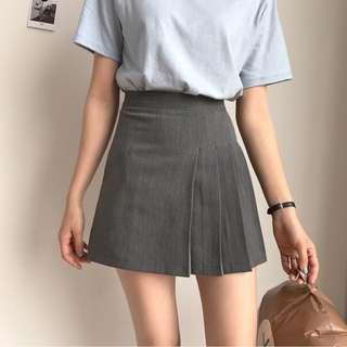 🚚 PO: Grey One Side Pleated A Line Skirt (Korean Fashion)