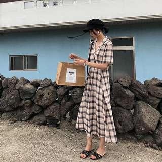🚚 轉售👗復古 森林系 格紋 細繩 襯衫領長版洋裝 有口袋 格子 洋裝