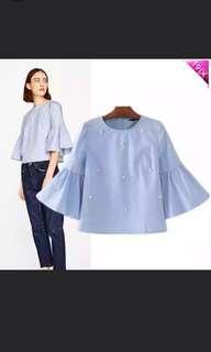 BN Blue Pearl Embellished Top