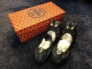 New Authentic Tory Burch Ballet Flat Shoes Reese Mestico Black Leather (US 7.5)