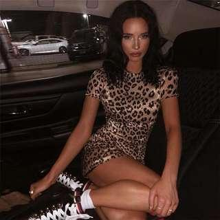 [PO] leopard print bodycon shirt dress