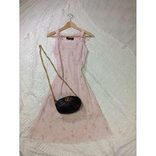B8-V159: Pink floral vintage dress