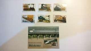 古巴郵票- 火車 (套票+小型張)