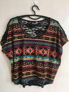 Aztec laced back top
