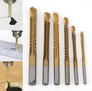 6 Pcs Titanium Coated HSS Woodworking Saw Drill Bit Set