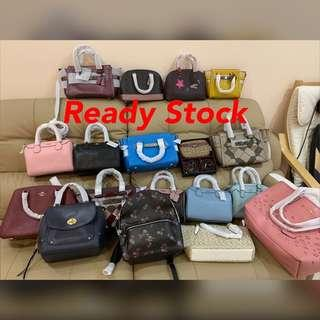 Authentic coach women handbag Tory Burch ready stock pictures