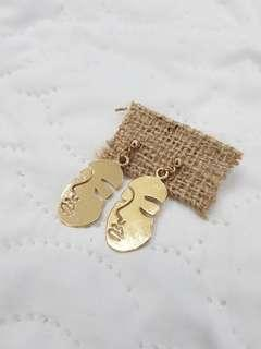 AESTHETIC Woman's Face Vintage Gold Earrings