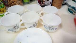 Hanamori 8cm Cup (6 pcs) with 13.5cm saucer (4 pcs)