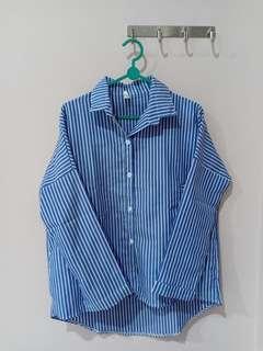Kemeja / Blouse Stripes garis-garis oversized