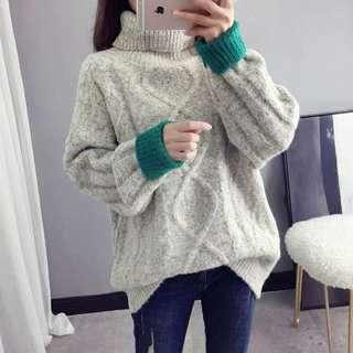 🚚 C564 寬鬆慵懶高領雪花撞色針織毛衣