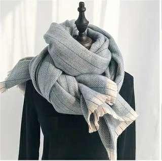 🚚 T299文青線條仿羊絨圍巾
