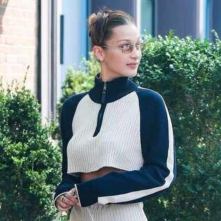 [PO] varsity zip-up turtleneck cropped sweater