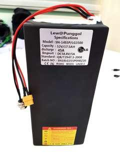 **In-Stock = LG MJ1 52v 17.5AH Discharge 45A For Internal AM Tempo External DYU Fiido OEM Escooters
