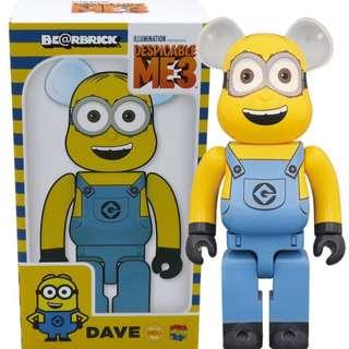 Despicable Me 3 Minions Dave 400% Bearbrick Figure by Medicom be@rbrick