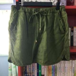 Army Green Drawstring Skirt