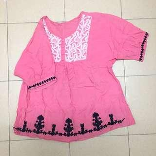 Pink embroidery top