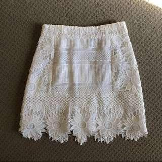 Topshop white lace skirt