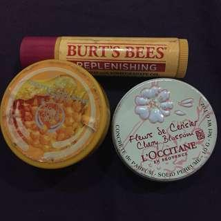 L'occitane, The Body Shop, BURT'S BEES Lot of 3 Lip Balms