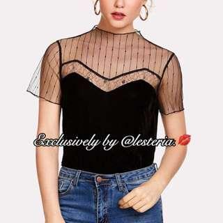 Mesh Neckline Embroidery Blouse