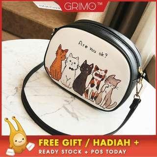 (READY STOCK) GRIMO Colorful Cat Sling Bag Shoulder Handbag